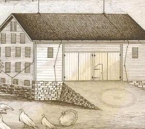 Barn with circle on bank