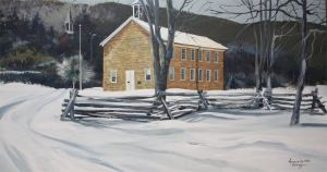 This painting depicts the Tuscarora Academy in the winter and was painted by local artist Dennis Hutchings.