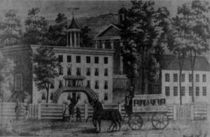 Tuscarora Academy & Lower Tuscarora Presbyterian Church [in background] JCHS archival Photo